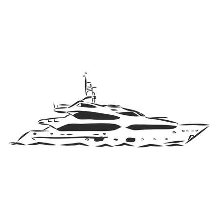 a modern yacht a boat in the sea, vector sketch illustration