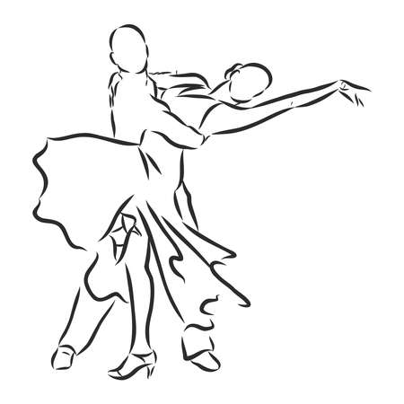 man and woman dancing sports dances, vector sketch illustration