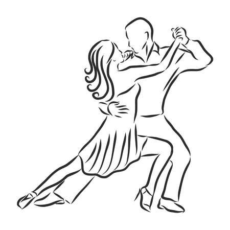 man and woman dancing sports dances, vector sketch illustration Vektorgrafik