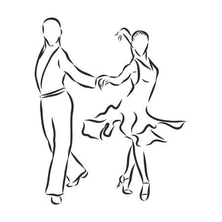 man and woman dancing sports dances, vector sketch illustration