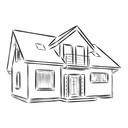 beautiful house, architectural object, vector sketch illustration
