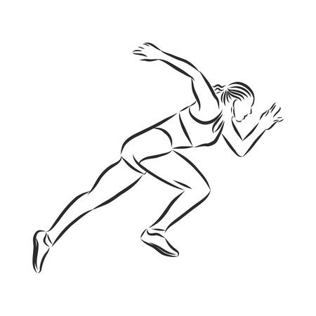 athlete, runner at the start, sign, silhouette, vector sketch illustration