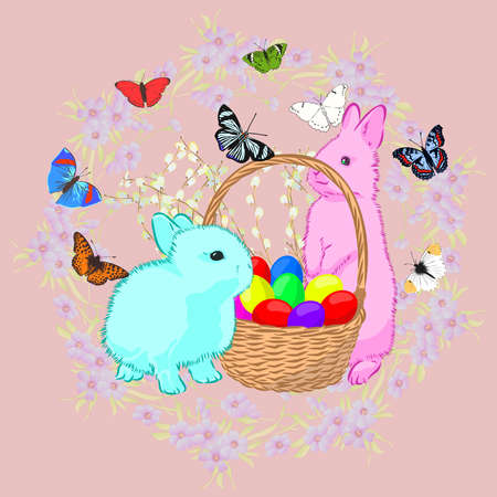 Easter card with a rabbit and a basket of eggs, vector illustration