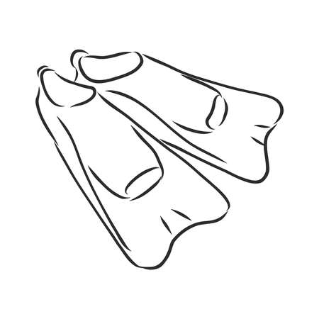 ports flippers for diver, vector sketch illustration