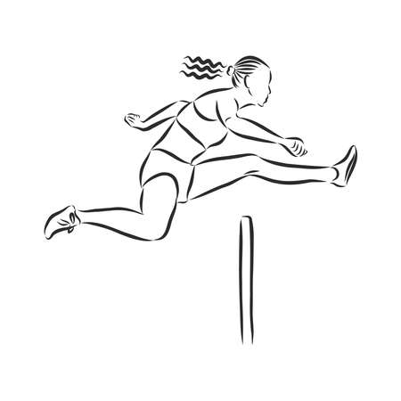 obstacle course, athlete jumping over a barrier, vector sketch illustration Illustration