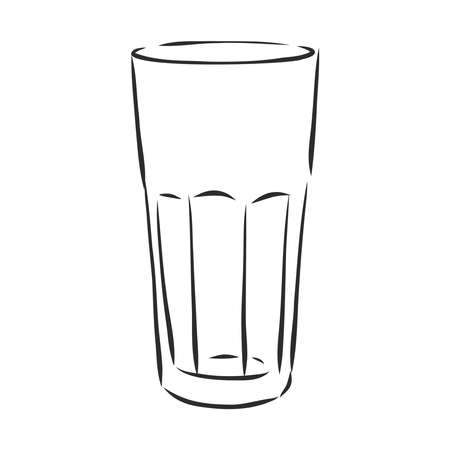 empty faceted glass, glassware, vector sketch illustration