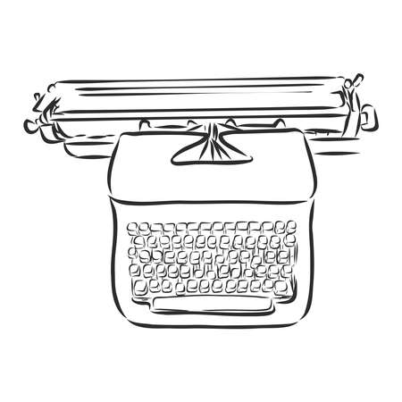 old typewriter with buttons, vector sketch illustration
