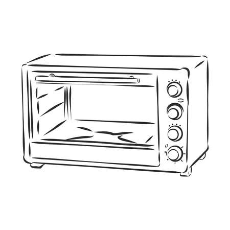 electric oven, kitchen appliances, vector sketch illustration