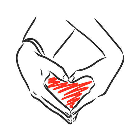 heart sign in male and female hands, vector sketch illustration