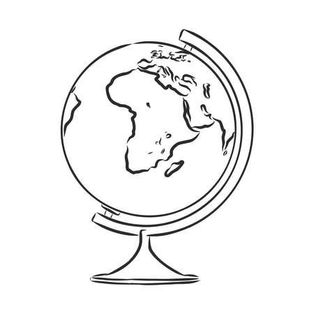 school globe, earth layout, vector sketch illustration