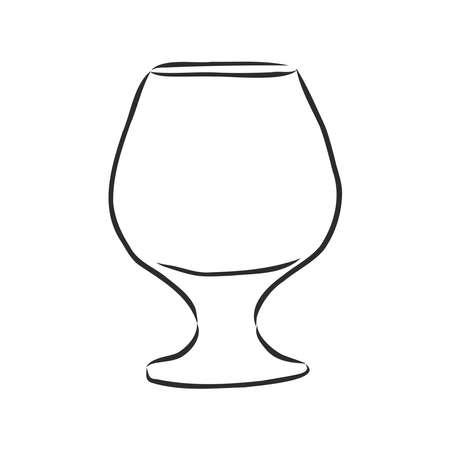 empty cognac glass, glassware, vector sketch illustration Çizim