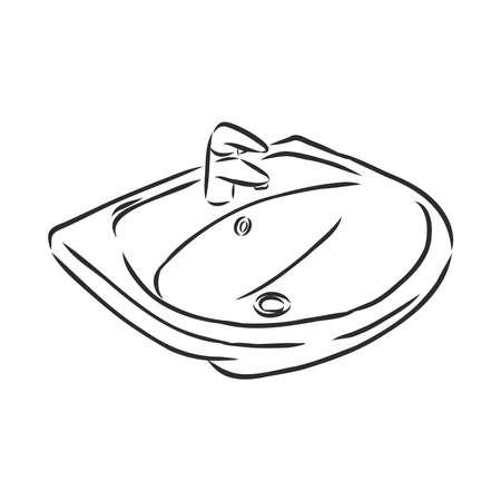 porcelain sink for bathroom, vector sketch illustration