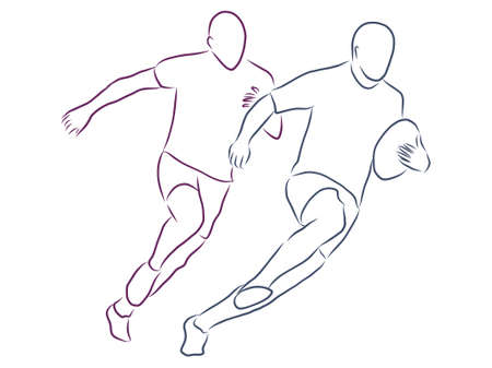 vector illustration of a Rugby player wearing all black running with ball