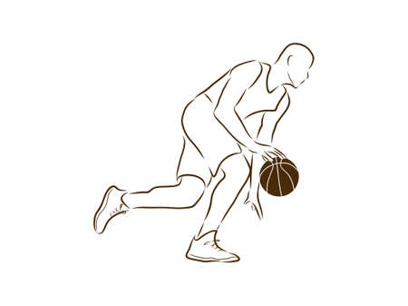 Basketball. The player in a jump. With a ball. Graphics.