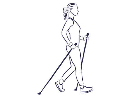 Nordic walking, figures of people walking with sticks Vektorové ilustrace