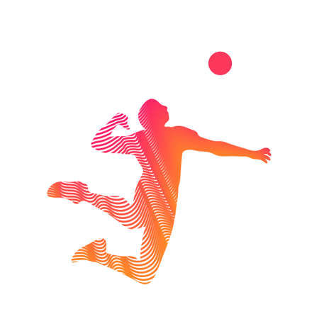 volleyball player serving the ball - black and white vector Illustration