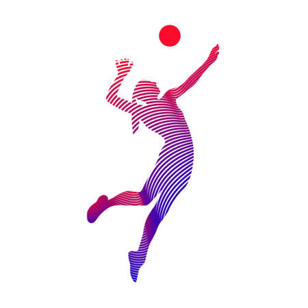 volleyball player serving the ball - black and white vector