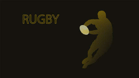Rugby player vector illustration. Running man with ball in hands. Illustration