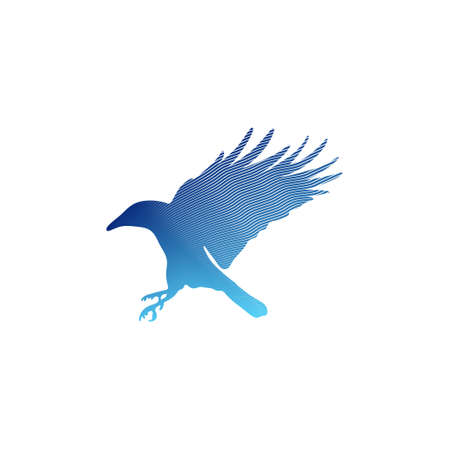 The black silhouette of a crow. Circuit birds. Flying rook. Raven. Magpie. Tattoo.
