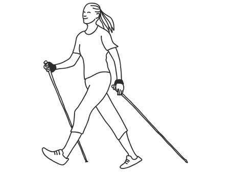 Nordic or scandinavian walking. Safe fitness. Black isolated contour and colors. Hand drawn style.