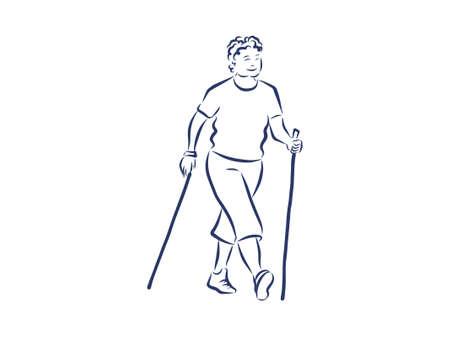 Nordic oder Skandinavisches Walking. Sichere Fitness. Schwarze isolierte Kontur und Farben. Handgezeichneter Stil.
