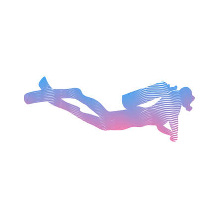 Vector illustration black silhouette diver. Isolated white background. Icon diver The concept of sport diving.