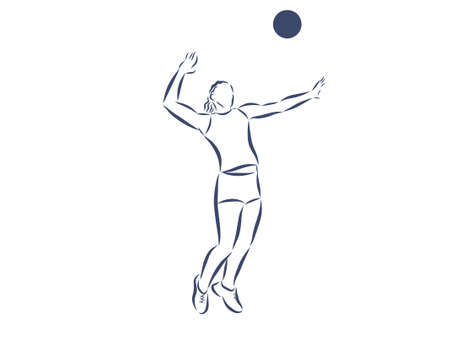volleyball player serving the ball - black and white vector Vektorgrafik