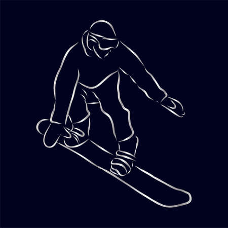 Sketch of Snowboarding, sport and active lifestyle. Snowboarder hand drawn isolated on white background. Vector