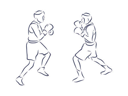 Boxing champ standing and ready to fight simple drawing. Box is a fighting sport illustration. Man boxer training outline drawing with letters text. Fighter silhouette hand drawn vector. Person sketch 向量圖像