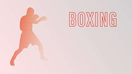 Boxing champ standing and ready to fight simple drawing. Box is a fighting sport illustration. Man boxer training outline drawing with letters text. Fighter silhouette hand drawn vector. Person sketch Illustration