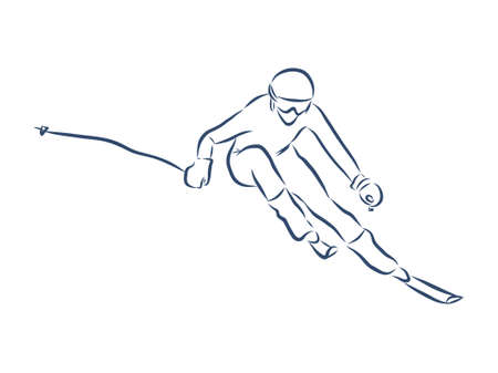 Freehand Drawing of a Jumping Freestyler Skier with Equipment. Realistic Style Sketch. Free Hand Draw. Extreme Winter Sports. Freestyle Ski Jump. Vector Illustration of a Flying Skier Teenager.