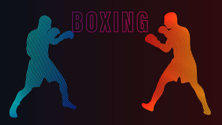 Boxing champ standing and ready to fight simple drawing. Box is a fighting sport illustration. Man boxer training outline drawing with letters text. Fighter silhouette hand drawn vector. Person sketch 矢量图像