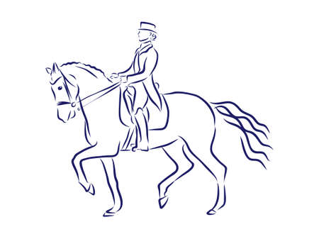 Horseback riding, horsemanship contour vector illustration Ilustrace