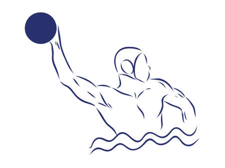 Water-polo player. Water polo vector image. Gate, swimmer, ball isolated on white background. Illustration