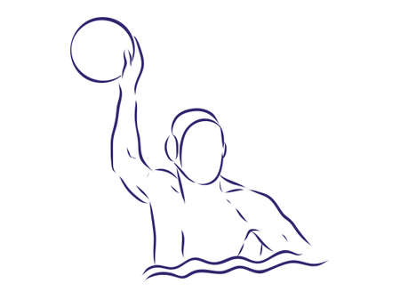 Water-polo player. Water polo vector image. Gate, swimmer, ball isolated on white background. Vector Illustratie