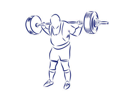 Sequence of a weightlifter doing a deadlift exercise. Hand drawn illustration. Illustration