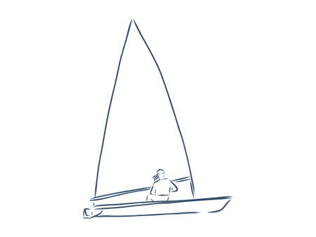 Windsurfing and windsurfer on waves, Hand drawn sketch, Extreme and water beach sports. Stock Illustratie