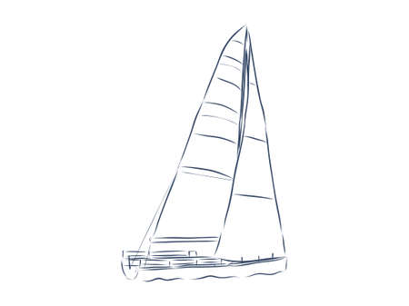 Windsurfing and windsurfer on waves, Hand drawn sketch, Extreme and water beach sports.