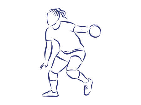 Illustration shows a handball player in the attack. Sport. Handball