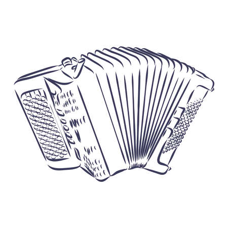 Accordion Musical instrument doodle style sketch illustration hand drawn vector