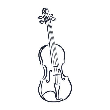 Sketched violin isolated on white background. Design template for label, banner, postcard, logo. Violin vector illustration.