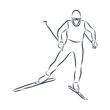 Vector hand drawn sport sketch. Professional skier rolling down the hill. Stock Illustratie