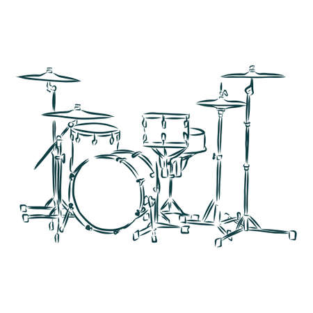 Sketched drum set symbol of modern percussion instrument with bass drum in the center of kit, snare and floor drums on both sides, supplemented by crash and hi hat cymbals