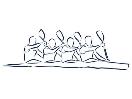 Academic canoe rowing. Abstract isolated contour of paddlers. Hand drawn outlines. Black line drawing. Sport canoeing illustration. Vector silhouette.