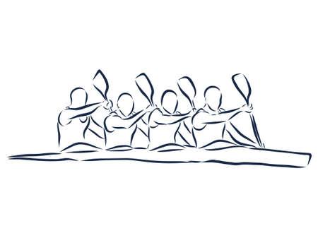Aviron académique en canoë. Contour isolé abstrait des pagayeurs. Contours dessinés à la main. Dessin au trait noir. Illustration de canoë-kayak sportif. silhouette vecteur.