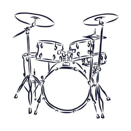 Sketched drum set symbol of modern percussion instrument with bass drum and tom toms in the center of kit, snare and floor drums on both sides, supplemented by crash and hi hat cymbals
