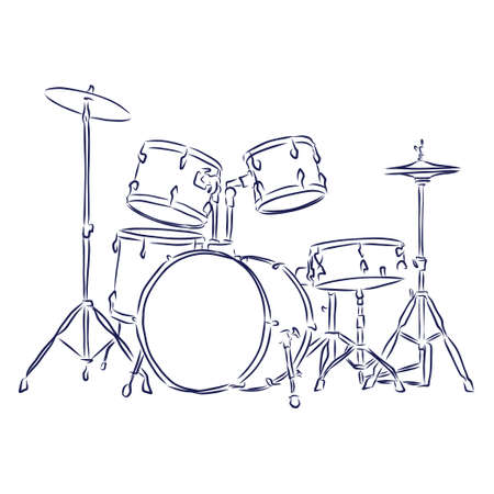 Sketched drum set symbol of modern percussion instrument with bass drum and tom toms in the center of kit, snare and floor drums on both sides, supplemented by crash and hi hat cymbals Ilustração Vetorial