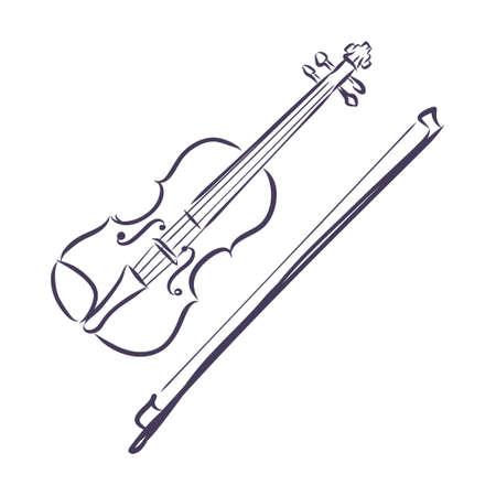 Sketched violin isolated on white background. Design template for label, banner, postcard, logo. Violin vector illustration. Logo