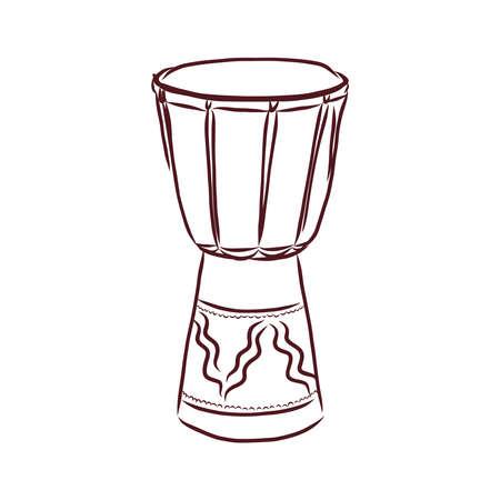 Drum musical instrument sketch icon.