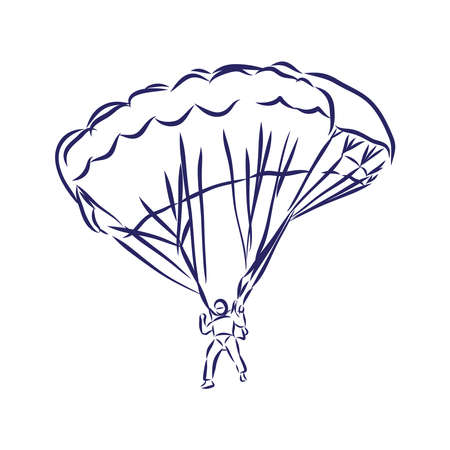 sketch of paragliding flying sportsman on a wing